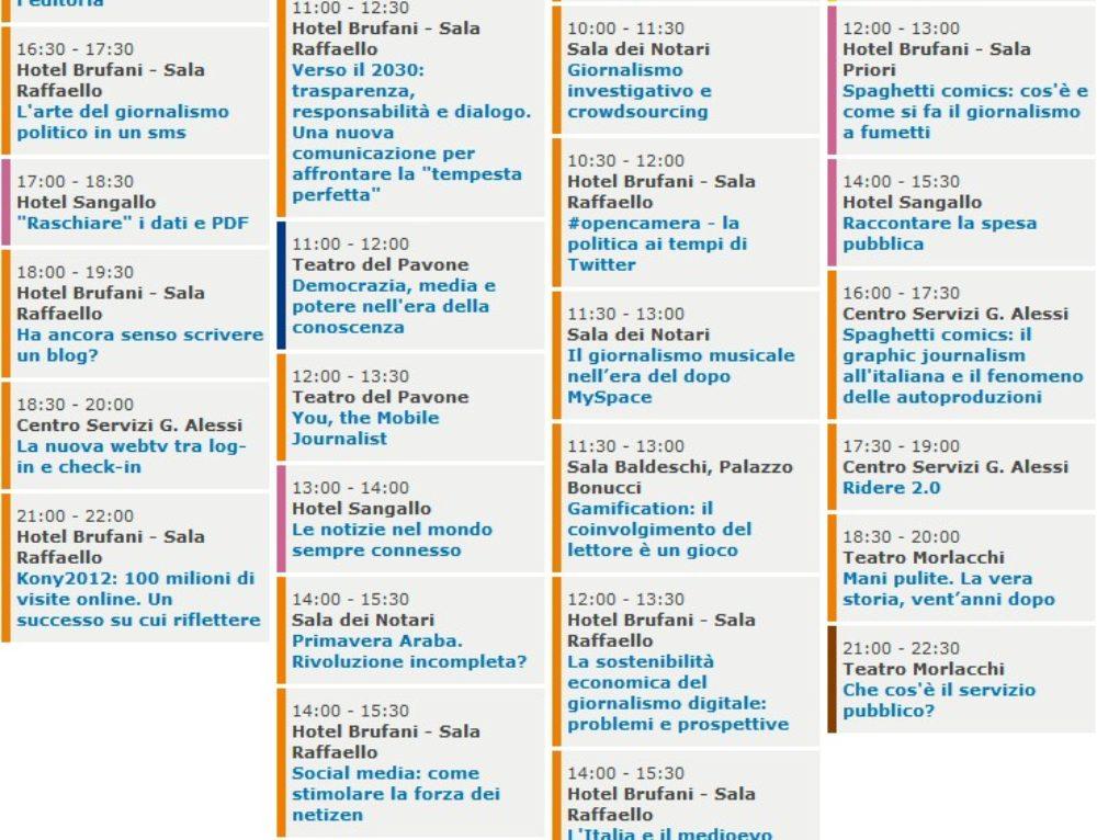 La mia agenda per il Festival del Giornalismo